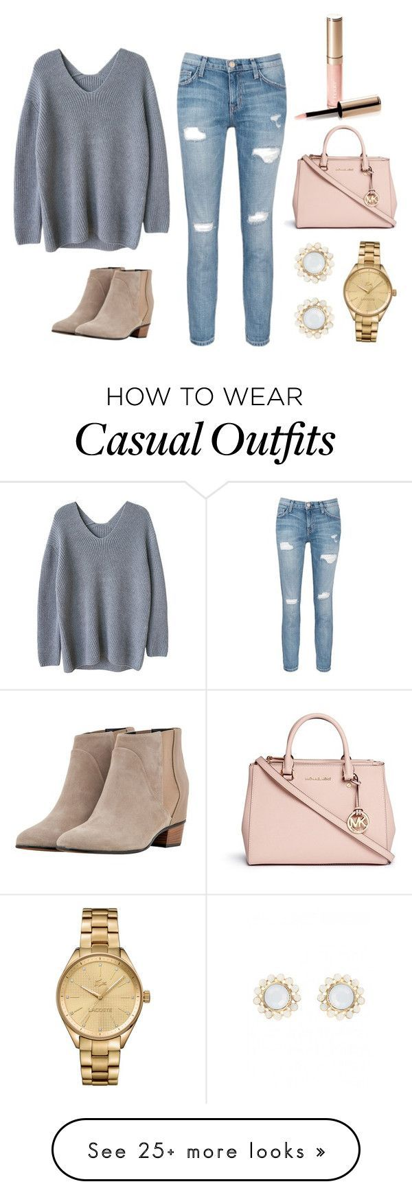 """""""Casual but Cute"""" by martin-annakate on Polyvore featuring Current/Elliott, Golden Goose, Michael Kors, Lacoste and By Terry                                                                                                                                                     More"""