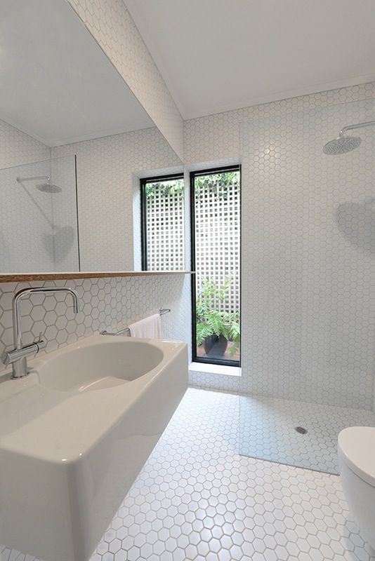 Hexagon Matt White 50mm Tiles Wrapped From Floor To Ceiling St