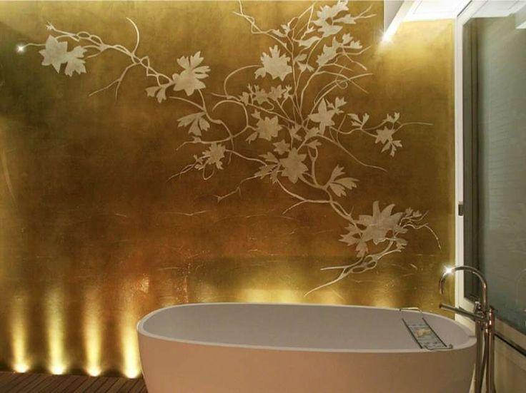 Decorazione pareti con Foglia D'Oro - Parete bagno decorato con foglia d'oro