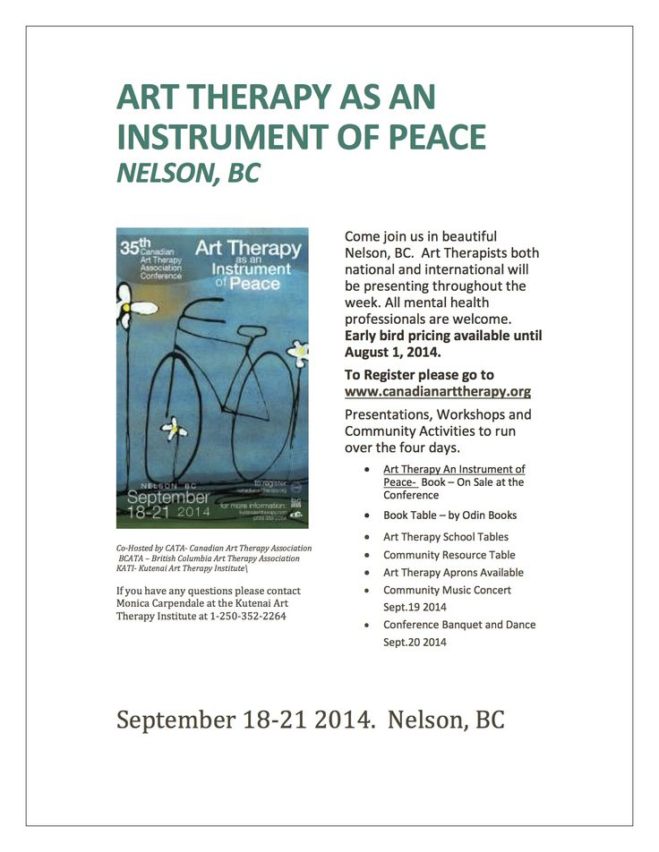 Art Therapists both  national and international will  be presenting in Nelson, BC. All mental health professionals are welcome.  Early bird pricing until  August 1.  To Register please go to  www.canadianarttherapy.org  Presentations, Workshops and  Community Activities to run  over the four days. Conference Book available for sale.