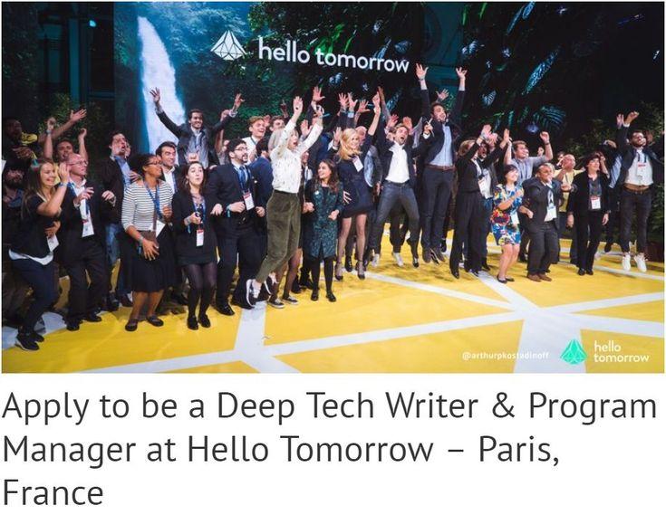 Позиция контент и программного менеджера в Hello Tomorrow, Париж | Стажировки и Гранты 2018-2019