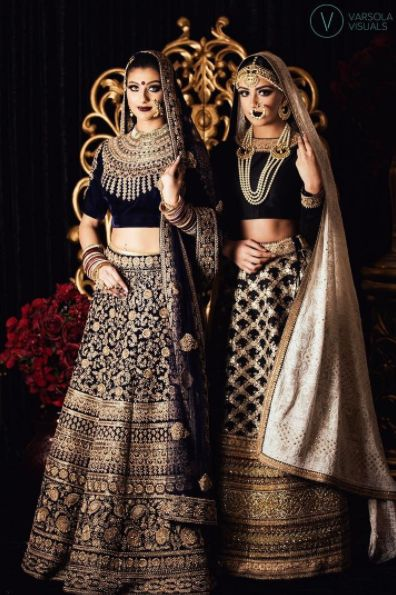 The gorgeous models are dressed in breathtaking #Wellgroomedinc designed lehenga's! For inquiries please email sales@wellgroomed.ca!