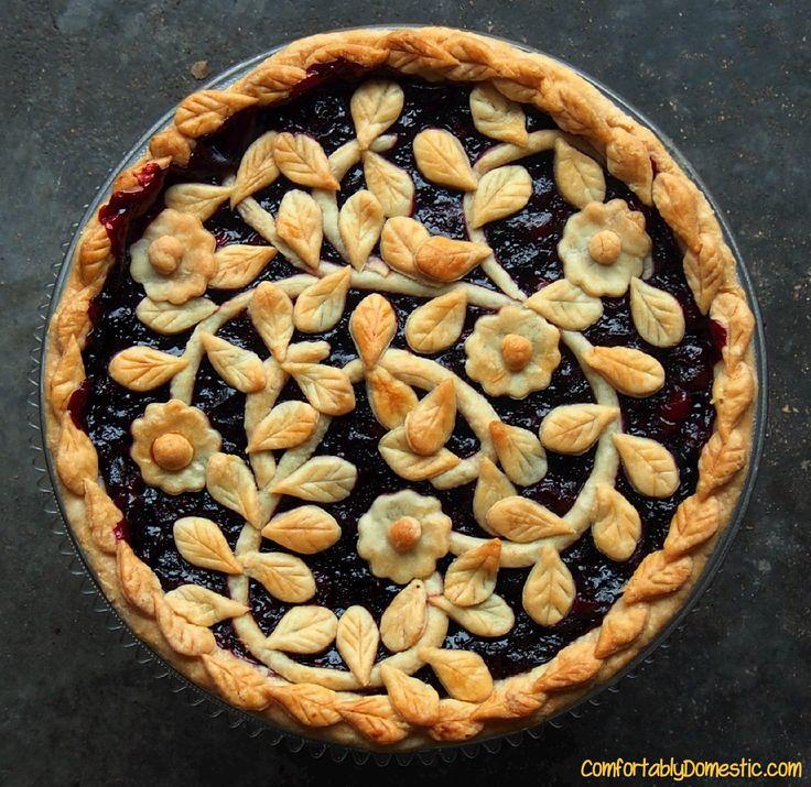 Very Berry Cherry Pie   ComfortablyDomestic.com combines tart cherries, fresh cranberries, and sweet blueberries in one fabulous pie.
