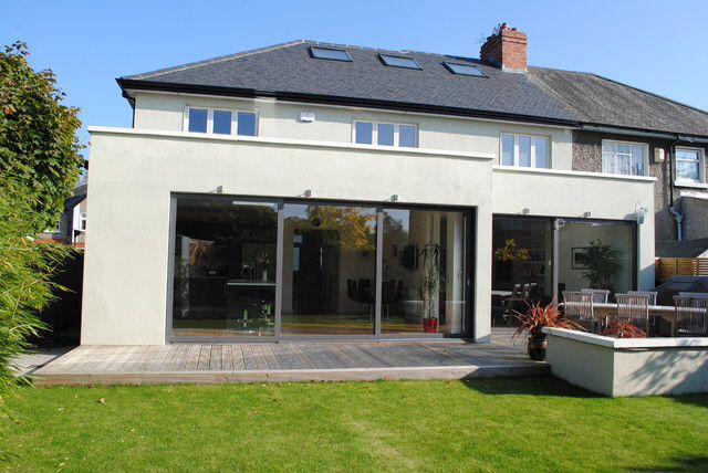 Rendered house extension