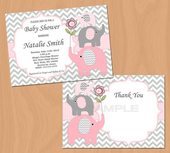 Girl Baby Shower Invitation Elephant Baby Shower by diymyparty, $10.00