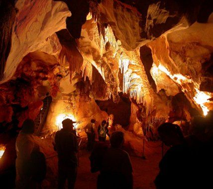 Cave visitors in Christmas Tree limestone chamber