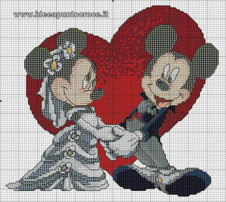 schema Topolino e Minnie sposi punto croce