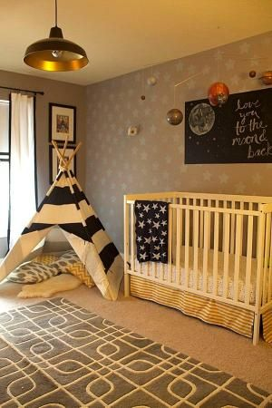 Replace glider with tee-pee and art above crib with stenciled wall design - two great ideas for transitioning to big boy room! #nursery #transitionalnursery by concepcion