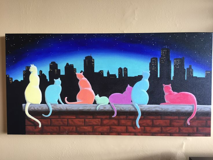 Oil painting featuring seven dramatically coloured cats silhouetted against a city's skyline.
