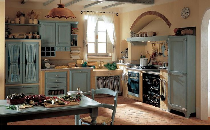 Cucina shabby azzurra rustica arredamento shabby for Cucine pinterest