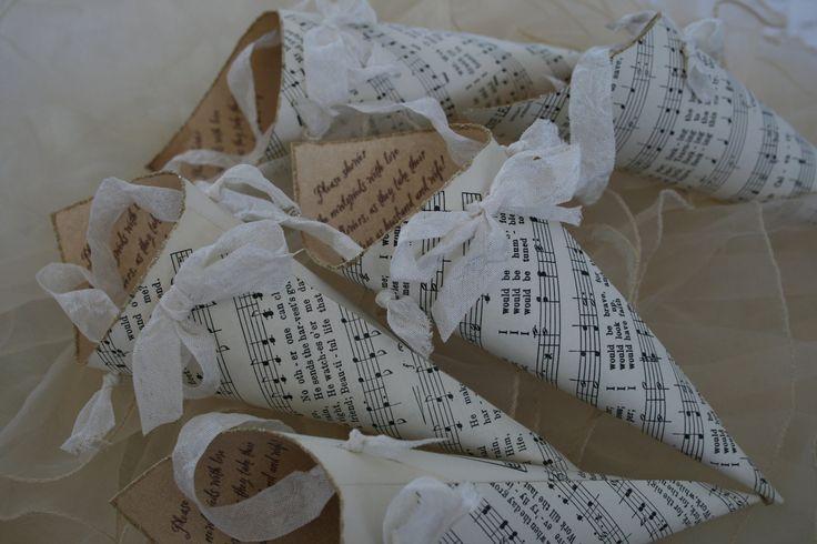 CONFETTI CONES -Vintage Sheet Music- Weddings, showers, parties, choose ribbon color - set of 10. $54.50, via Etsy.