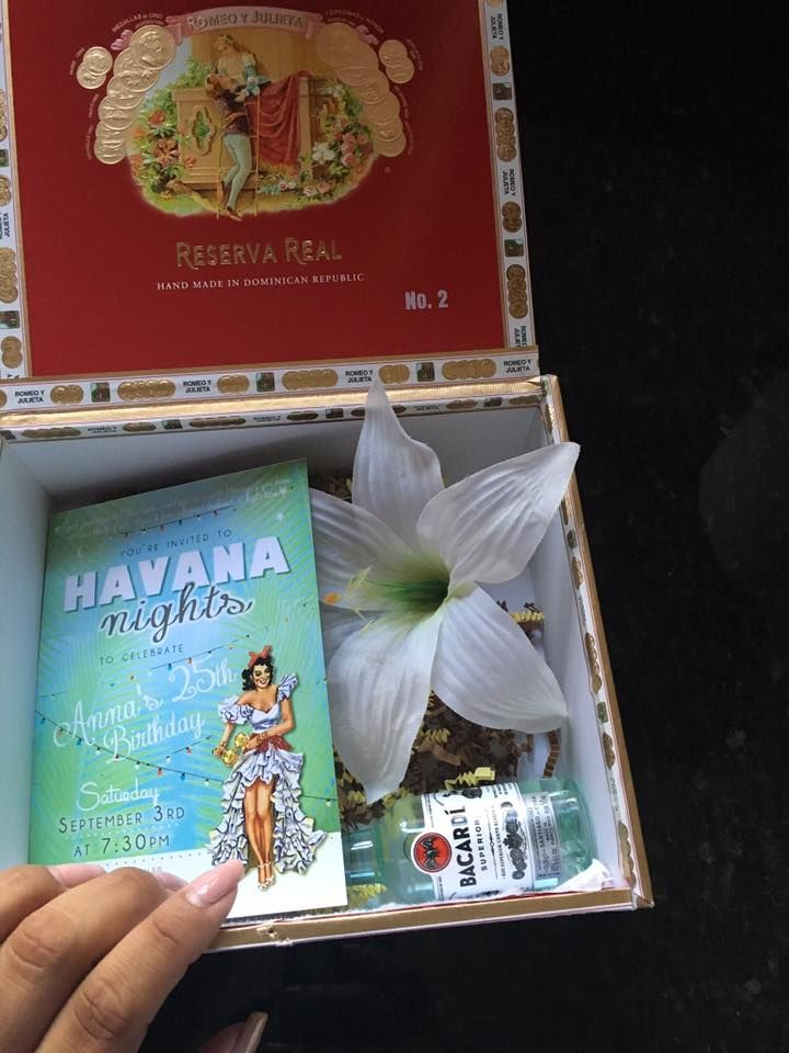 HAVANA NIGHTS invite in a cigar boxed