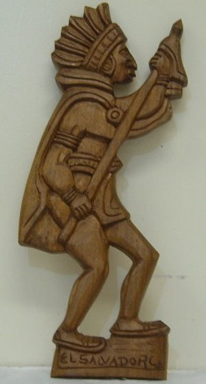 Hand carved image of a Pipil indian from El Salvador.