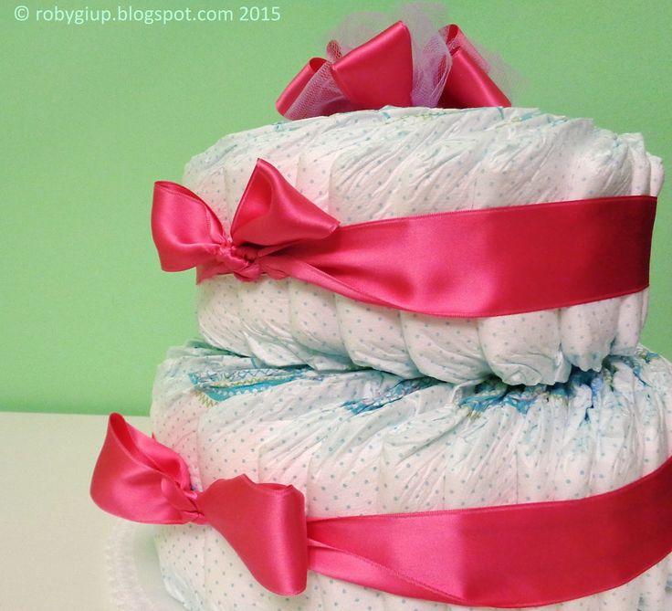 Torta di pannolini rosa, idea regalo perfetta per neo mamme! - Pink diaper cake, perfect gift for new moms! - RobyGiup handmade #newborn #baby #gift #mother #girl