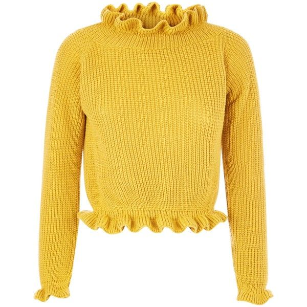 Cameo Rose Yellow Frill Neck and Hem Jumper (615.805 VND) ❤ liked on Polyvore featuring tops, sweaters, rose top, yellow sweater, rosette top, rose sweater and jumper top