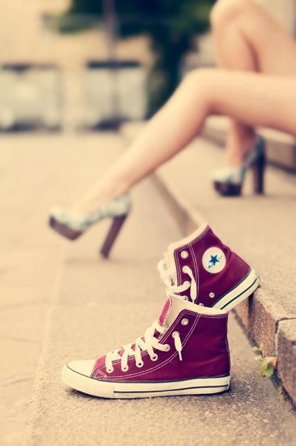 from converse to heels Omg if I had a quince id want this to be one of the pics♥♥♥
