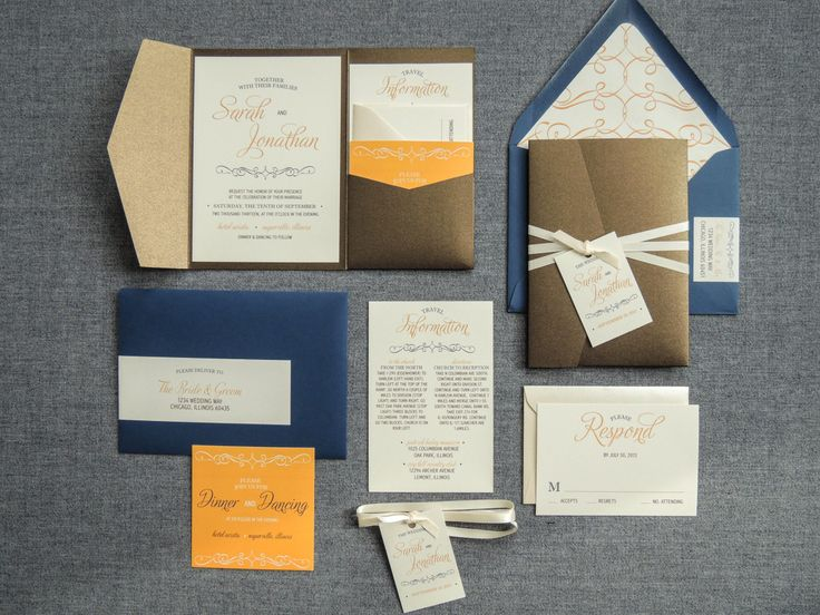 Navy and Orange Wedding Invitations Brown by JulieHananDesign