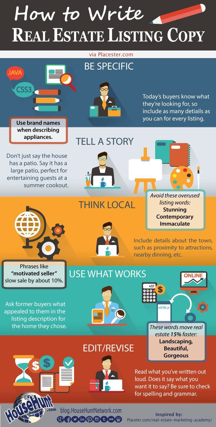 How To Write Real Estate Listing Copy Infographic I Definitely Will Not Be Using These Words Fo Real Estate School Real Estate Infographic Real Estate Tips Real estate listing marketing plan