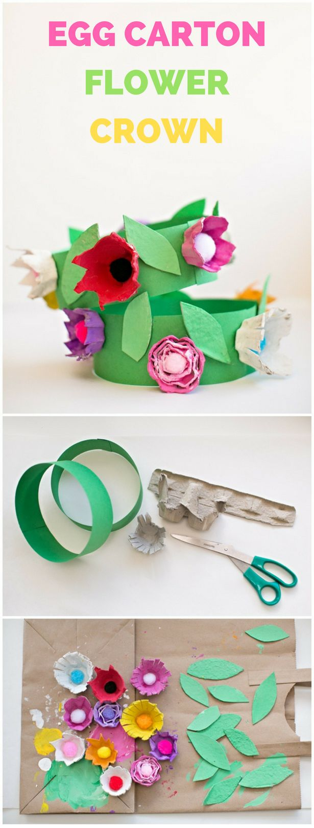 Recycled DIY Egg Carton Flower Crown. Cute way to celebrate spring with the kids!