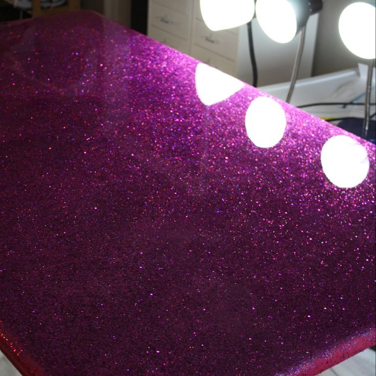 Glitter furniture with spray paint and epoxy.