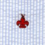 Fabric Finders Embroidered Fleur De Lis Crawfish on Seersucker Cotton Fabric by angelasfabricandtrim on Etsy https://www.etsy.com/listing/213854545/fabric-finders-embroidered-fleur-de-lis