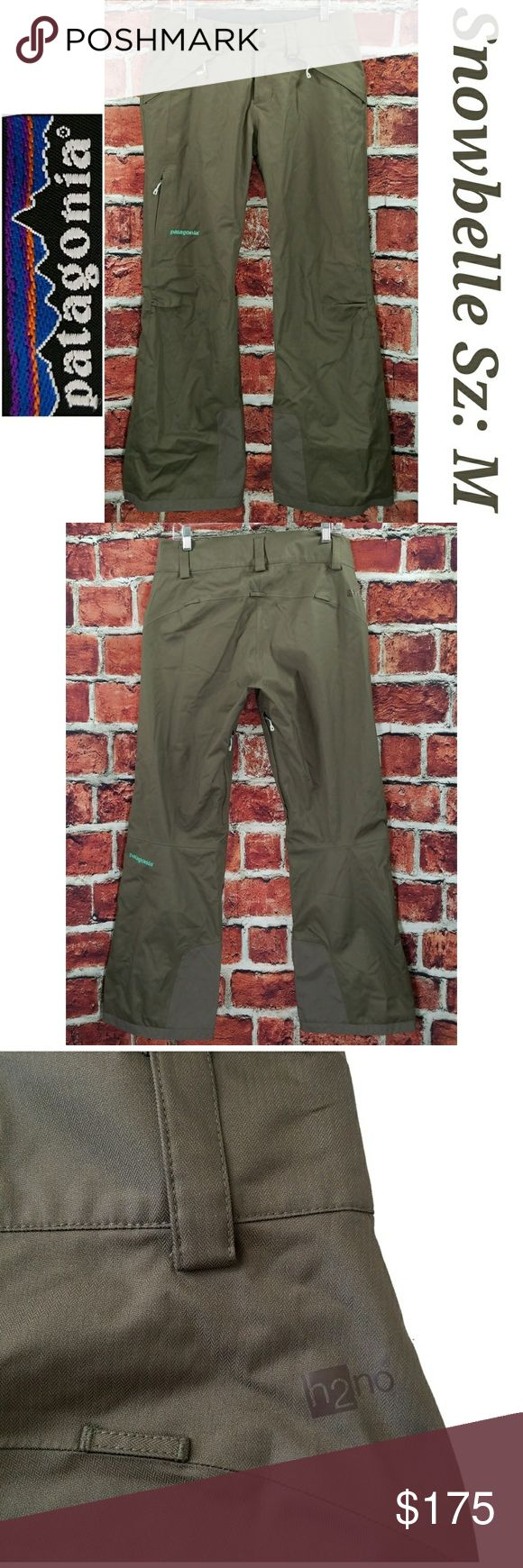 Mint condition! Women Patagonia Snowbelle Olive Green Insulated Ski Snow Pants Size: M Medium Patagonia Pants Boot Cut & Flare