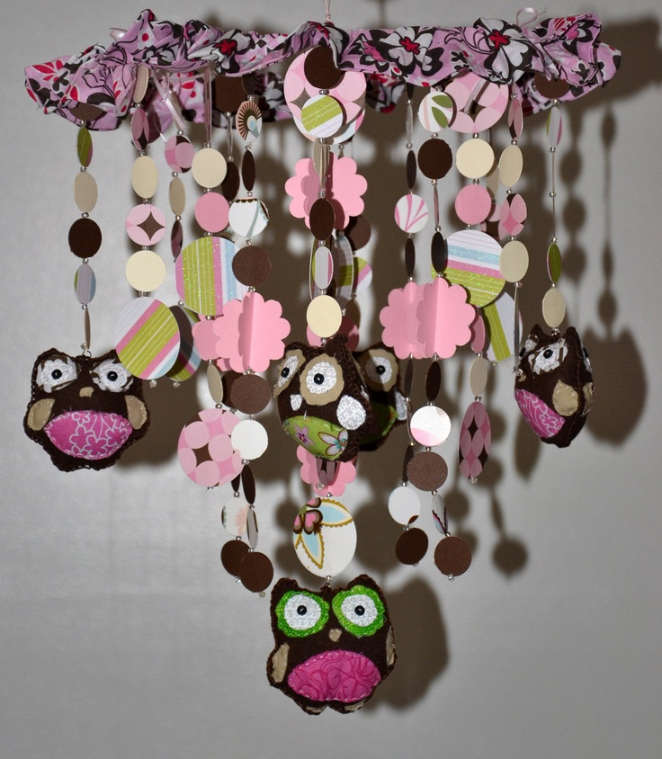 Too Hoot for Owls Crib Mobile (pink/brown) Nursery Decor, Baby Shower Gift, Baby Chandelier. $68.00, via Etsy.
