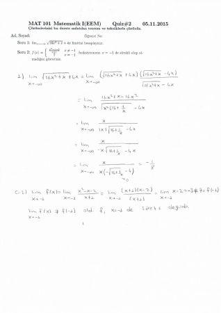 Matematik -1 2. Quiz Soru ve Çözümleri - EEM