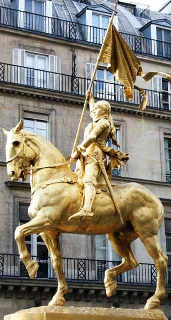 Fremiet's Joan of Arc, Place des Pyramides, Paris, France. This French warrior claimed divine guidance and charged into battle, leading the French Army to numerous key victories in the Hundred Years' War.