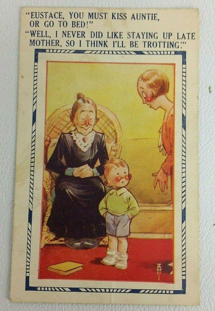 Vintage Comics Postcard, Child Kiss Auntie Postmark 1936