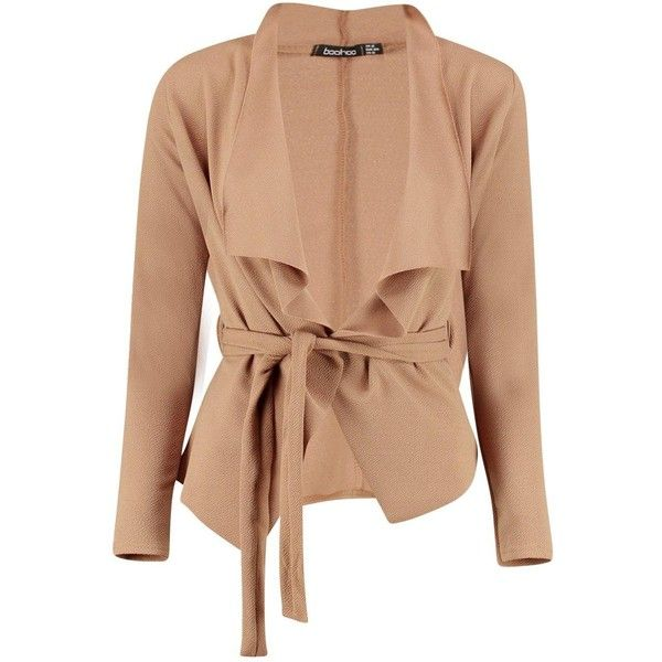 Boohoo Petite Elena Tie Front Blazer | Boohoo (535 MXN) ❤ liked on Polyvore featuring outerwear, jackets, blazers, tie front jacket, petite blazer, beige jacket, blazer jacket and beige blazer