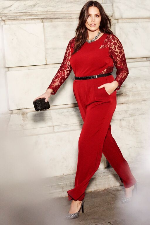 9c69b8dd4f9 Stand out at the office holiday party in our Studio Wideleg Jumpsuit with  Lace Inserts Black Tie Collection Women s Plus Size Fashion ELOQUII