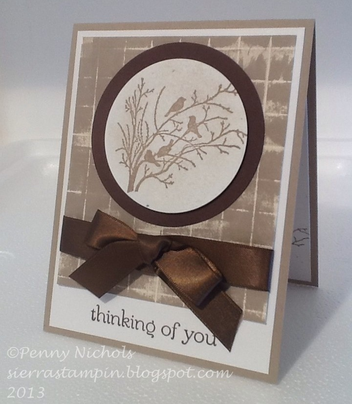 """I really do like the Stampin' Up! """"Serene Silhouettes"""" stamp set and think it might be one of my favorites, so I wanted to make a special card with it.  I started with Crumb Cake card stock base and I had a scored practice piece of card stock that I needed to use and dabbed Crumb Cake ink on it.  To be continued at www.sierrastampin.blogspot.com."""