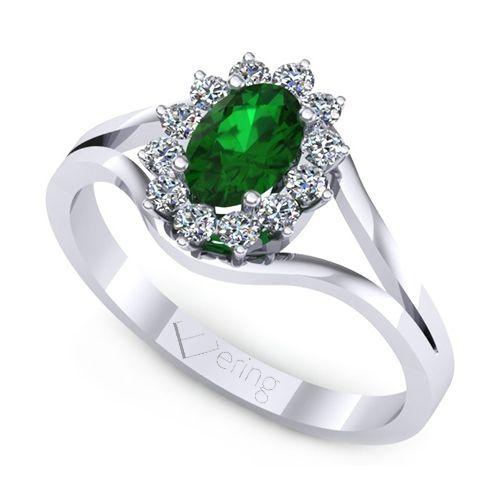 Inelul este format din: 1 x smarald, dimensiune: ~6.00x4.00mm, forma: oval; 12 x diamant, dimensiune: ~1.50mm, greutate totala: ~0.19ct, forma: round