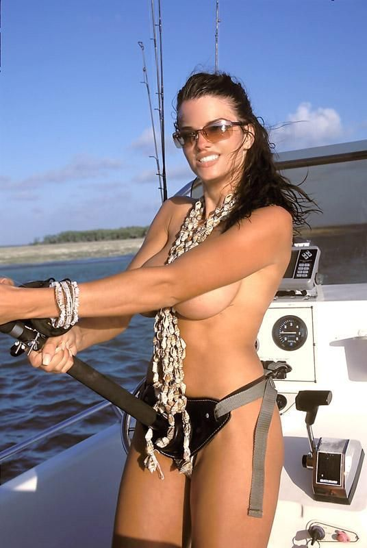 Latino naked girl fishing