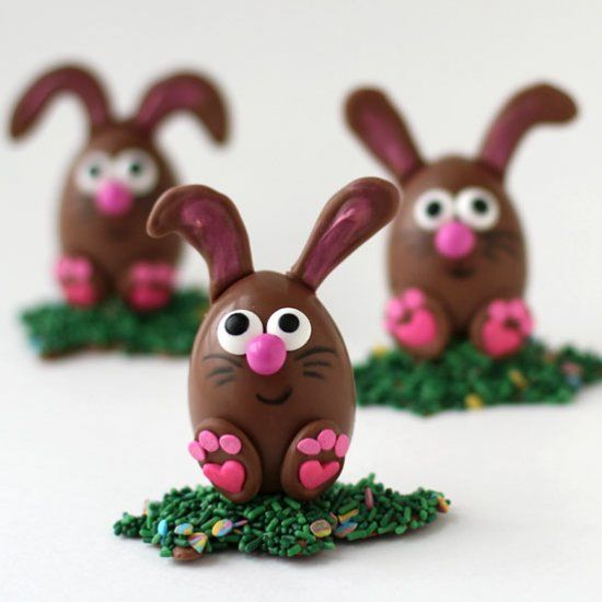 Peanut Butter Fudge Filled Chocolate Easter Eggs decorated like Bunnies