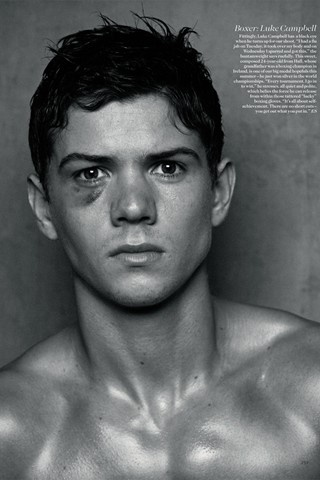 Luke Campbell, British Olympic Boxer, signed with Select Models, following the London 2012 Olympics. Shown here in a  shoot for Vogue Magazine's June 2012 issue by photographer Peter Lindbergh. The 24 year-old Campbell won a gold medal at the London 2012 Olympics.
