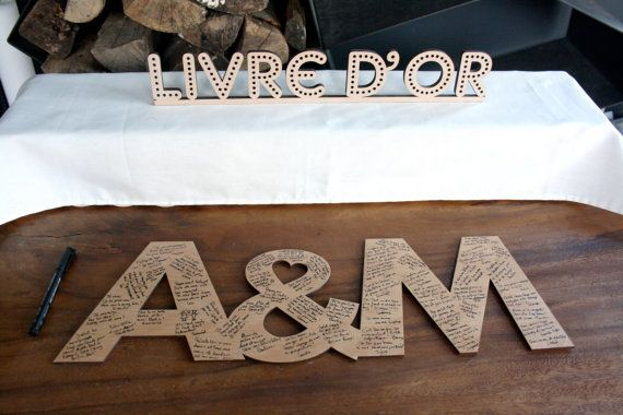 Livre d'or initiales en bois de mariage livre d'or pour invités original initiales géantes de mariage lettres en bois