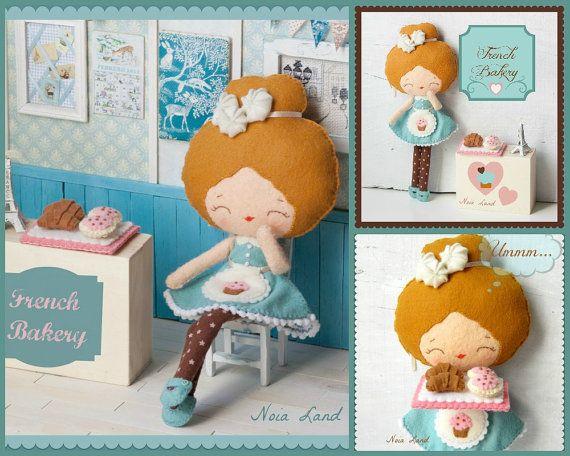 PDF. French bakery girl .Plush Doll Pattern, Softie Pattern, Soft felt Toy Pattern..