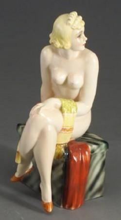 Porcelain; Lenci, Figure, Nude Lady, Seated, 12 inch.