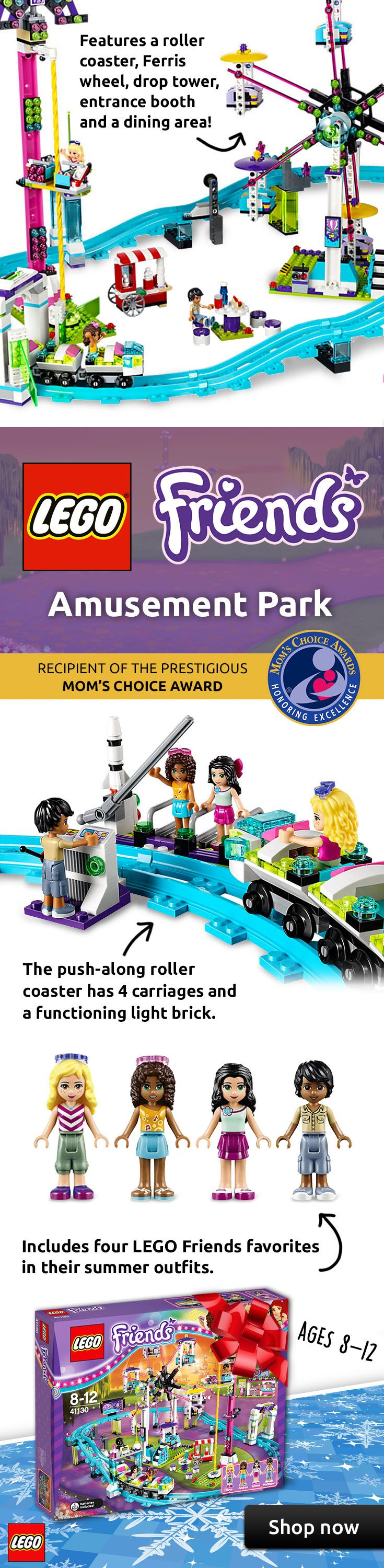 """The LEGO® Friends Amusement Park Roller Coaster is a must-have holiday gift for 8-12 year olds! This award-winning LEGO set features a Ferris wheel that measures over 12"""" high, 11"""" wide and 4"""" deep and includes 4 mini-doll figures. Shop now for free shipping!"""