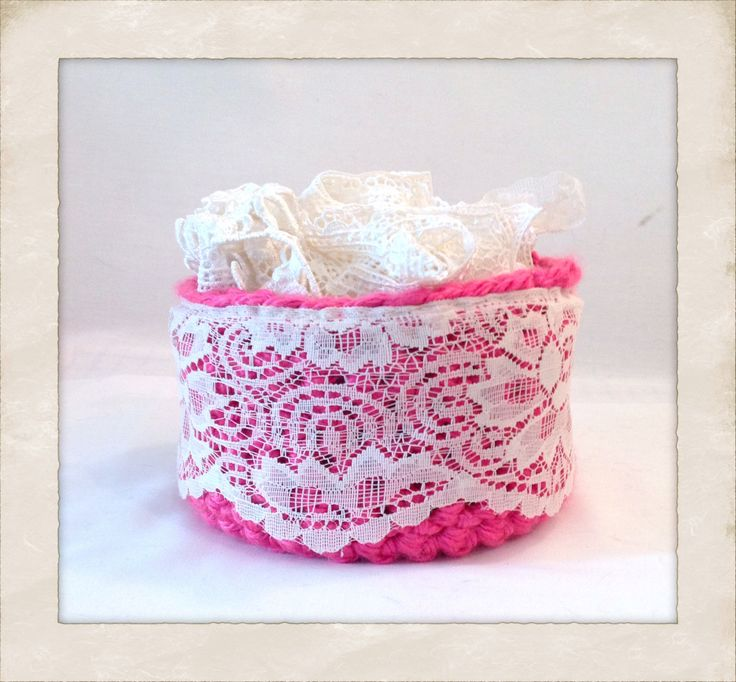 Pink lace trim handmade storage nursery decor basket catchall, nursery storage, kids room storage, bathroom basket, bathroom storage by ChicSacs on Etsy