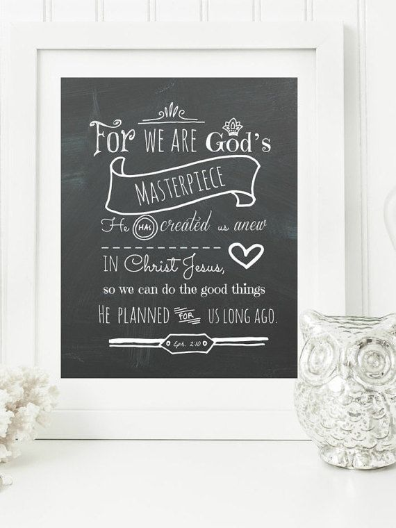 Instant Ephesians 2:10 Chalkboard Digital Wall Art by hbixler03