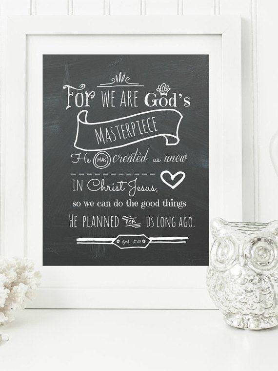 Instant Ephesians 2:10 Chalkboard Digital Wall Art by hbixler03