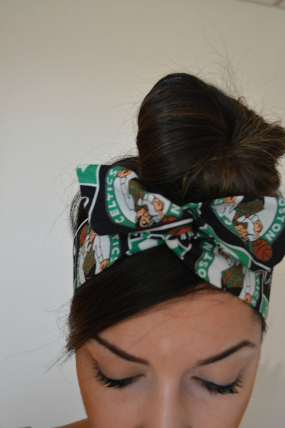 Boston Celtics, headband, Dolly bow headband, hair accessory made with cotton fabric. Sewn folded about 33 1/2 long with wiring inside for easy adjusting.  Hand wash in cool water no chlorine bleach hang dry cool iron if needed on very light setting   https://www.etsy.com/listing/155764939/patriotic-american-flag-dolly-bow-head?ref=shop_home_active&ga_search_query=american%2Bflag  https://www.etsy.com/listing/159074720/patri...