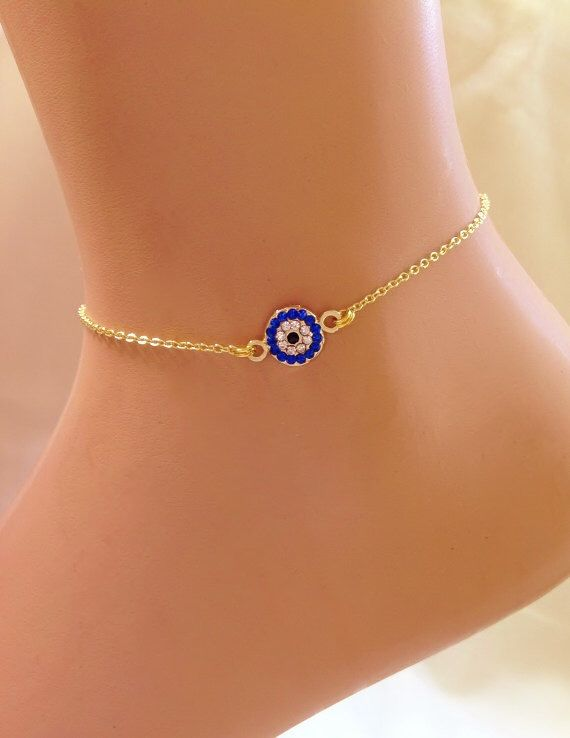A personal favorite from my Etsy shop https://www.etsy.com/listing/190577678/gold-plated-evil-eye-ankle-bracelet