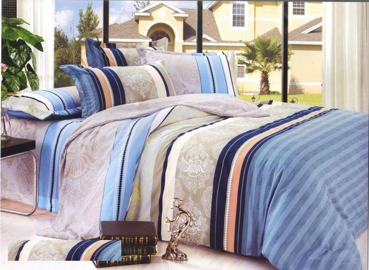 Béžovo modré obliečky na postele s pruhmi