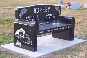 Bench grave marker - Headstone in Nebraska made by Palmer Brothers Granite Co.