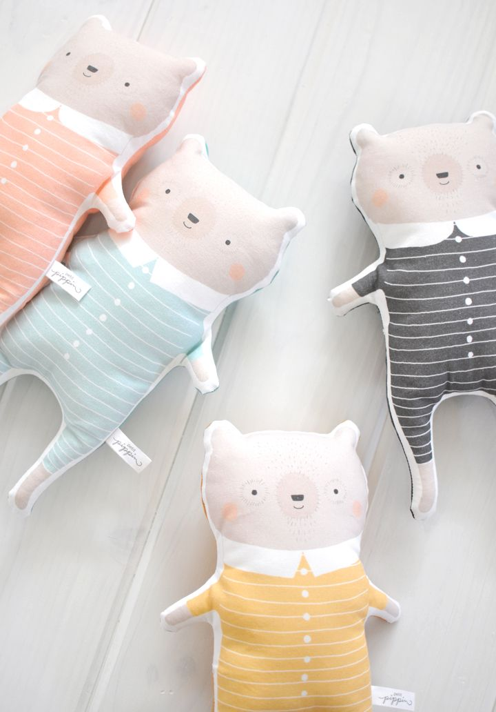 Soft Plush Animal Pillows & Toys - Sleepy Bear Pillows by Petit Pippin