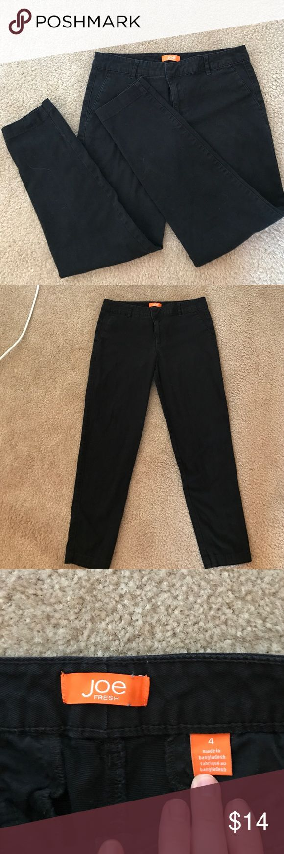 "Black Joe Fresh Ankle Pants Size 4 Black Joe Fresh ankle pants. Size 4. Not denim, but thicker than dress pants. I bought them off of here and they are beautiful Pants, just too big for me! I have a 26.5"" waist and a 36"" butt and they are just a tad too big for me. Joe Fresh Pants Ankle & Cropped"